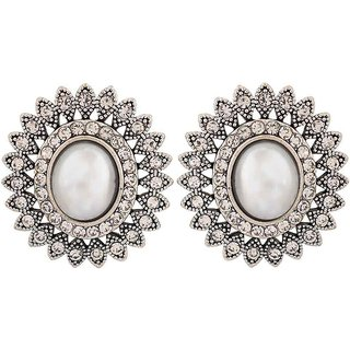 Maayra Amazing Silver Pearl College Stud Earrings
