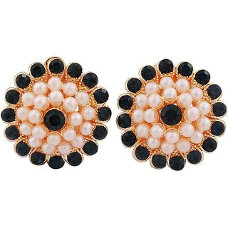 Maayra Sober White Blue Pearl Casualwear Clip On Earrings