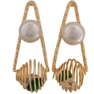 Maayra Lovable Green White Pearl Party Drop Earrings