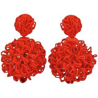Maayra Darling Orange Designer Cocktail Stud Earrings