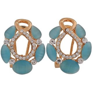 Maayra Gorgeous Blue Gold Stone Crystals Get-Together Clip On Earrings