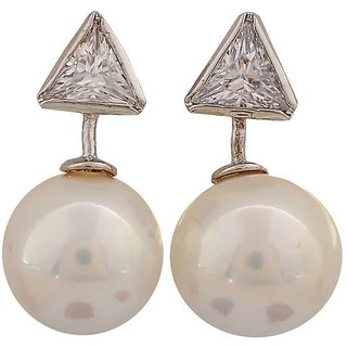 Maayra Plush White Silver Pearl College Stud Earrings