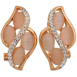 Maayra Sexy Off-White Gold Designer Cocktail Clip On Earrings