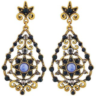 Maayra Artistic Blue Gold Designer College Drop Earrings