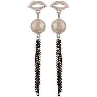 Maayra Exquisite Black Silver Designer Casualwear Tassel Earrings