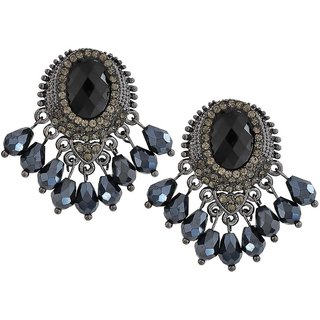 Maayra Classy Black Blue Stone Crystals Casualwear Drop Earrings