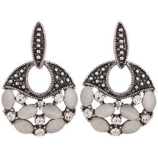 Maayra Superb Silver Stone Crystals Casualwear Drop Earrings