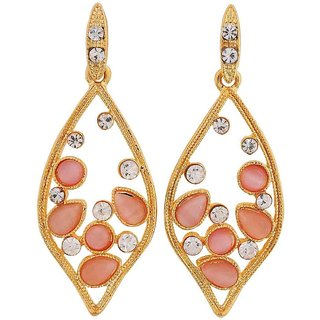 Maayra Charming Pink Gold Designer College Drop Earrings
