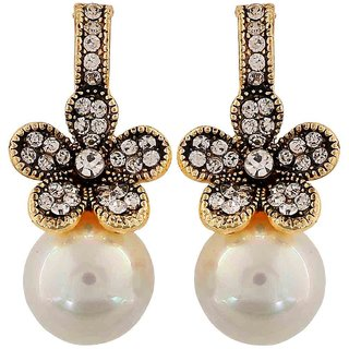 Maayra Plush White Pearl Cocktail Drop Earrings