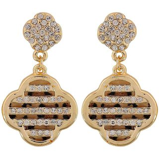 Maayra Simple Gold Stone Crystals Get-Together Drop Earrings