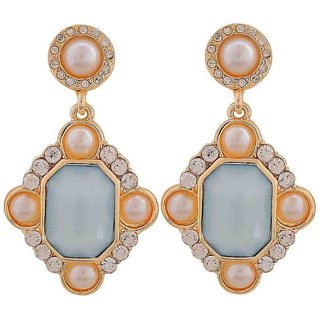 Maayra Adorable Blue White Pearl College Drop Earrings