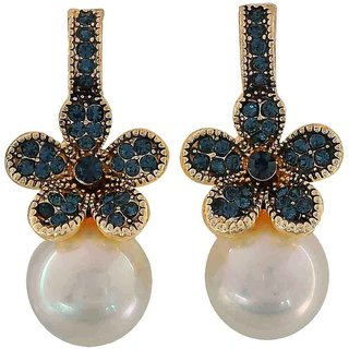 Maayra Classy Blue White Pearl Party Drop Earrings