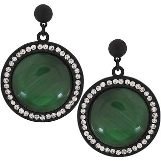 Maayra Class Green Black Stone Crystals Get-Together Drop Earrings