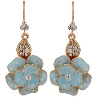 Maayra Simple Blue Gold Stone Crystals Get-Together Dangler Earrings