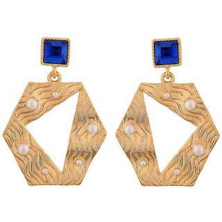 Maayra Darling Blue Gold Designer Cocktail Drop Earrings