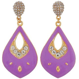 Maayra Gorgeous Purple Gold Stone Crystals Get-Together Drop Earrings