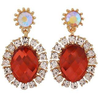 Maayra Sensual Wine Yellow Stone Crystals Casualwear Drop Earrings