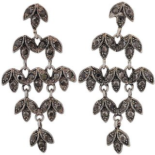 Maayra Plush Silver Designer College Drop Earrings