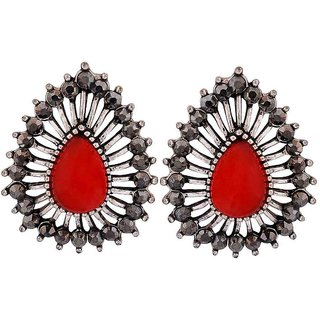 Maayra Classy Red Silver Designer Party Drop Earrings