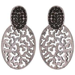Maayra Unique Silver Filigree Casualwear Drop Earrings