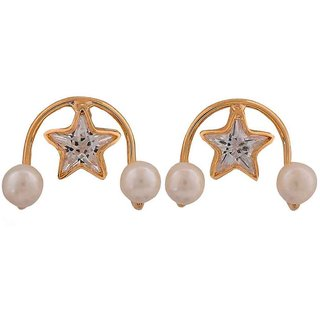 Maayra Pretty White Gold Indian Ethnic Get-Together Drop Earrings