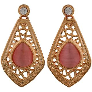 Maayra Smart Pink Gold Filigree Casualwear Drop Earrings