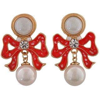 Maayra Elegant White Pink Pearl College Drop Earrings