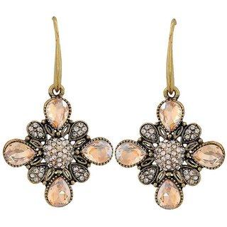 Maayra Exclusive Yellow Silver Kundan Casualwear Dangler Earrings