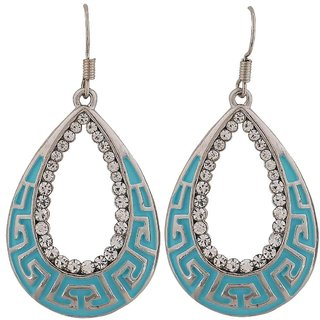 Maayra Lively Blue Silver Stone Crystals College Dangler Earrings