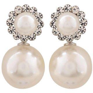 Maayra Terrific White Pearl College Drop Earrings