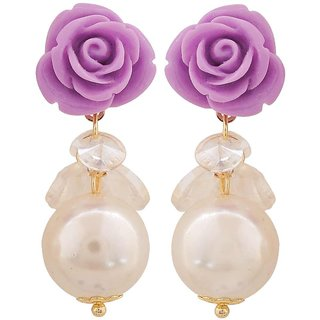 Maayra Fab Purple White Pearl Get-Together Drop Earrings