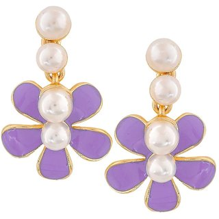 Maayra Sizzling Blue White Pearl College Drop Earrings