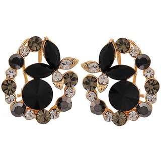 Maayra Pretty Black Stone Crystals Get-Together Clip On Earrings