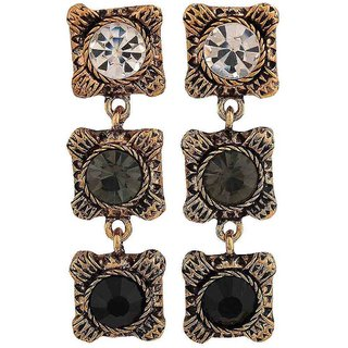 Maayra Sparkling Black Gold Stone Crystals Cocktail Drop Earrings