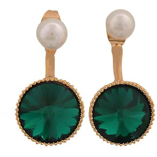 Maayra Stylish Green White Indian Ethnic Get-Together Drop Earrings