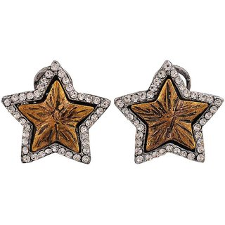 Maayra Exclusive Gold Stone Crystals Casualwear Clip On Earrings