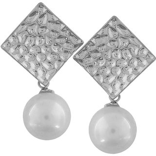 Maayra Grand White Silver Pearl Party Drop Earrings