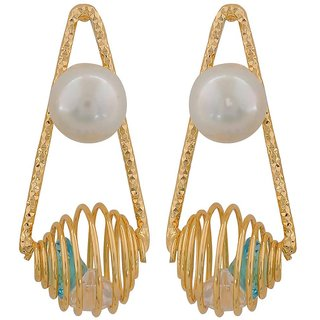 Maayra Posh Blue White Pearl Casualwear Drop Earrings