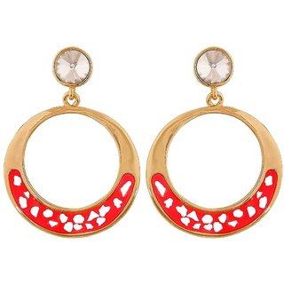 Maayra Sizzling Pink Gold Stone Crystals College Drop Earrings