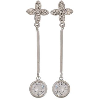Maayra Stunning Silver Stone Crystals Party Drop Earrings