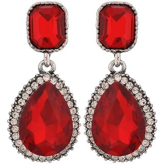 Maayra Shining Red Kundan Cocktail Drop Earrings
