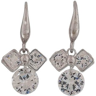 Maayra Pretty Silver Stone Crystals Get-Together Dangler Earrings