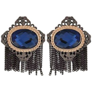 Maayra Classic Blue Silver Stone Crystals Party Drop Earrings
