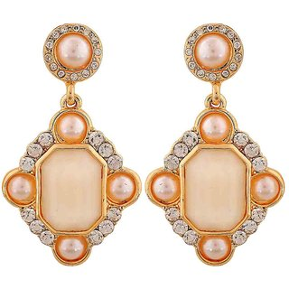 Maayra Stylish Off-White White Pearl Get-Together Drop Earrings
