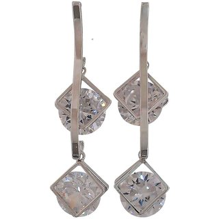 Maayra Lively Silver Stone Crystals College Drop Earrings