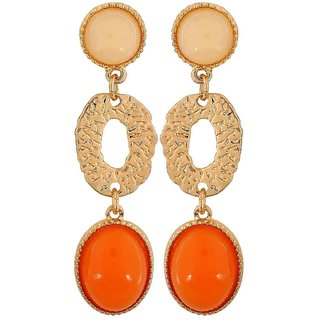 Maayra Lovely Orange Off-White Designer Casualwear Drop Earrings