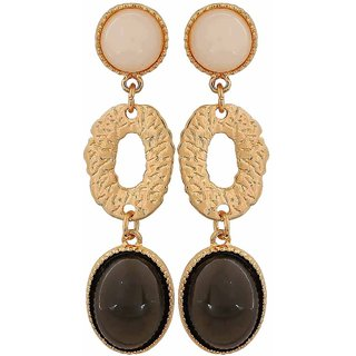 Maayra Trendy Black White Pearl Get-Together Drop Earrings