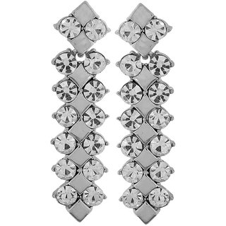 Maayra Cool Silver Stone Crystals Party Drop Earrings