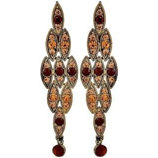 Maayra Chic Wine Gold Stone Crystals Casualwear Drop Earrings