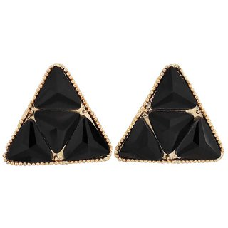 Maayra Exquisite Black Gold Stone Crystals Cocktail Clip On Earrings